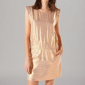 MAJE Metallic Rose Dress Size 36